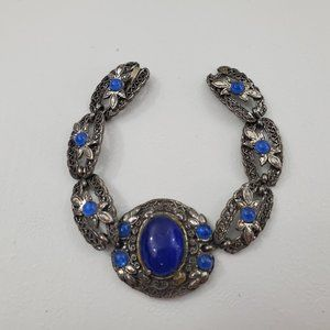 Vintage Blue Glass Bracelet Silver Tone Textured F